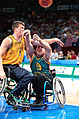 231000 - Wheelchair basketball Nick Morris hit - 3b - 2000 Sydney match photo.jpg