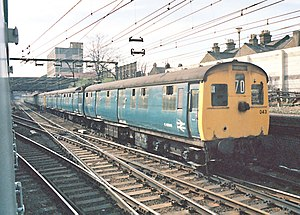 British Rail Class 306 - View of the former Motor Brake Second Open (MBSO) vehicle showing the modified (raised) roofline above the cab when the pantograph was relocated to the centre carriage.