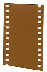A short strip of undeveloped 35 mm film.