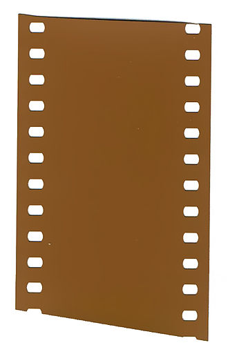 Film stock - A short strip of undeveloped 35 mm color negative film.