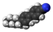 Space-filling model of the 4-cyano-4'-pentylbiphenyl molecule