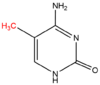 5'-methylcytosine molecule with methyl group, added by a DNA methyltransferase, highlighted in red