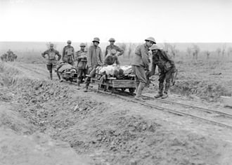 Trench railways - 5th Australian Field Ambulance Company soldiers evacuating wounded from the front near Ypres in trench railway hand cars.