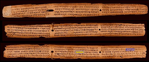 A palm leaf manuscript published in 828 CE with the Sanskrit alphabet