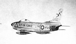 86th Fighter-Interceptor Squadron - North American F-86D Sabre 52-10120, at Youngstown Airport, Ohio, 1955