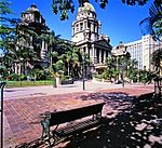 The Town Hall, Durban, was designed by Philip Dudgeon in the neo-classical style. The foundation stone was laid in February 1883. The Francis Farewell Gardens in front of the Town Hall were laid out on the site of the first White settlement west of Port Type of site: City Hall Current use: City Hall. The Frances Farewell gardens are the area containing the war memorial between the City Hall and Gard. The Durban City Hall, together with the Francis Farewell Gardens, forms an important cultural and hi