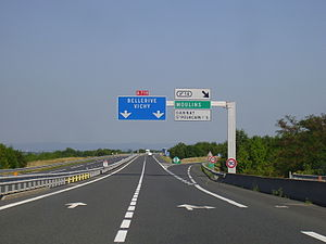 A71 autoroute - A719 towards Vichy in July 2009.