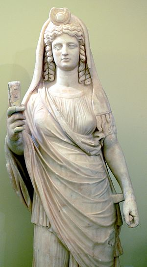 Persephone - Statue of Persephone with a sistrum. Heraklion Archaeological Museum, Crete