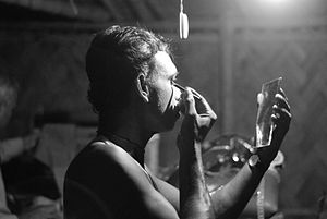 Jatra (theatre) - A jatra actor prepares before the performance, Sunderbans.