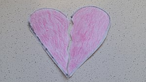 Broken heart - A paper-made symbolisation of a broken heart.