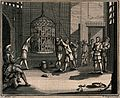 A prisoner is shown a cage which is suspended from the ceili Wellcome V0041665.jpg