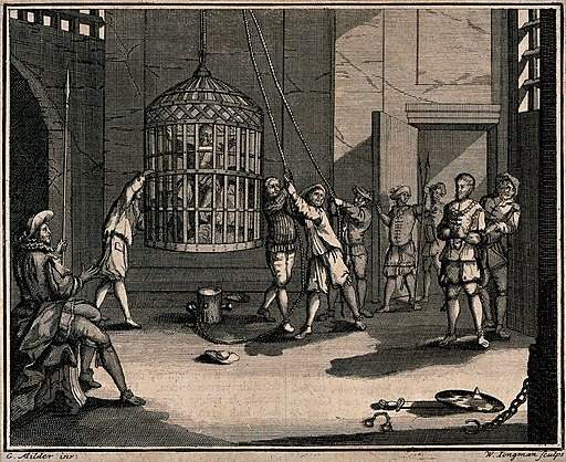 A prisoner is shown a cage which is suspended from the ceili Wellcome V0041665