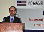 Acting U.S. Consul General Erik Martini delivering remarks at the inauguration of the USAID-Funded Faculty of Education building today (22135984646).jpg