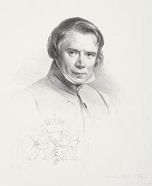 Selbstbildnis mit Korkenzieher-Signet, 1835 (Quelle: Wikimedia)