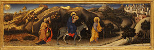 Adoration of the Magi (Gentile da Fabriano) - Scene of Flyght in Egypt in the predella.
