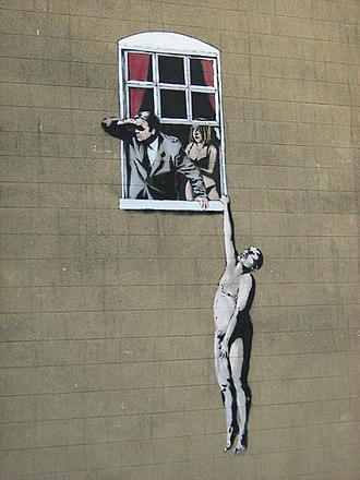 Adultery graffiti in Bristol, by Banksy Affair.JPG