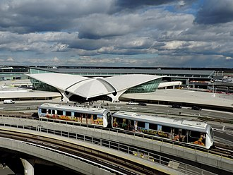AirTrain JFK - An AirTrain in front of the TWA Flight Center