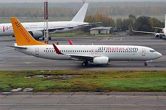 Air Manas - Air Manas Boeing 737-800 at Domodedovo Airport.