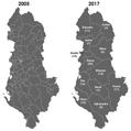 Albánia választókerületek 2005 és 2017.png