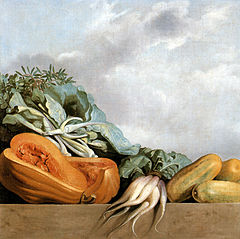 Still-life of pumpkins, zuchini and leavy greens (paksoi)