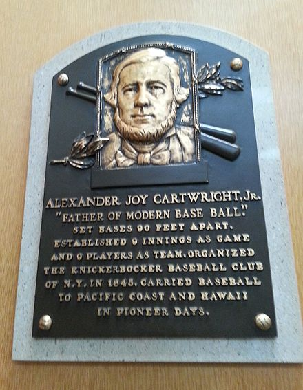 Cartwright's plaque at the National Baseball Hall of Fame and Museum Alexander Cartwright HOF plaque.jpg
