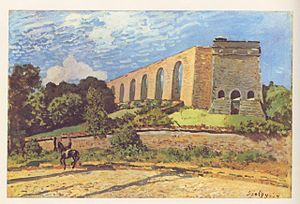 Aqueduc de Louveciennes - L'Aqueduc de Marly painted by Alfred Sisley in 1874. View of the tour du Levant from the hillside above the Seine river.