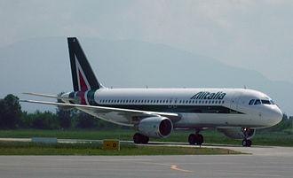 Tirana International Airport Nënë Tereza - Alitalia Airbus A320 in Tirana