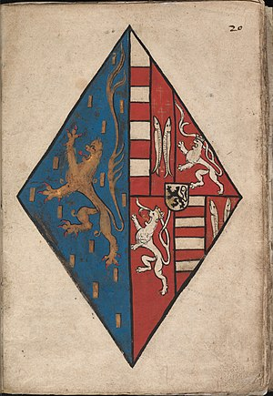 Women in heraldry - Alliance arms of Maria of Loon-Heinsberg. Arms of women were usually depicted on lozenges. Here, her family arms are impaled with those of her husband, Jan IV of Nassau.