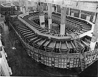 Ernest Lawrence - Giant electromagnet Alpha I racetrack for uranium enrichment at Y-12 plant, Oak Ridge, Tennessee, circa 1944–45.  The calutrons Lawrence developed are located around the ring.