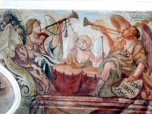 Evolution of timpani in the 18th and 19th centuries - A Fresco from Our Lady's chapel in Altenmarkt depicting the pairing of the timpani and trumpet