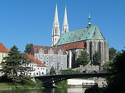 St. Peter and Paul church and the Waidhaus on the river Neisse in Görlitz