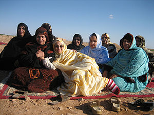 Aminatou Haidar - Aminatou Haidar with friends in Lemleihess (Western Sahara), after her release from prison (18 January 2006)
