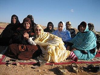 Aminatou Haidar - Aminatou Haidar with friends in Lemleihess (Western Sahara), after her release from prison (18 January 2006)