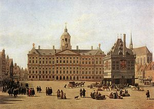 Capital of the Netherlands - Dam Square in Amsterdam with view of City Hall in the late 17th century: painting by Gerrit Adriaenszoon Berckheyde (Gemäldegalerie, Dresden)