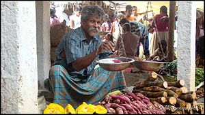 Sales - A vegetable seller in a rural Sri Lankan village