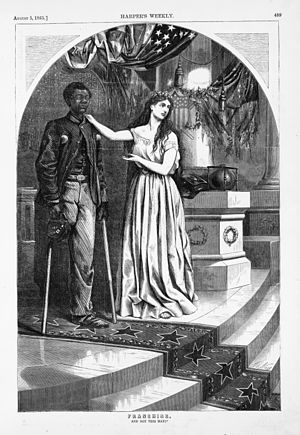 "Nadir of American race relations - ""And Not This Man?"", Harper's Weekly, August 5, 1865. Thomas Nast drew this cartoon; in 1865 he, like many Northerners, remembered blacks' military service and favored granting them voting rights"
