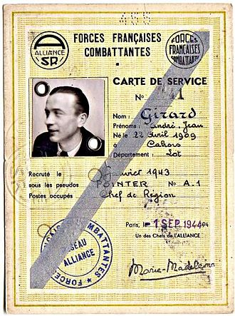 Medal of a liberated France - French Resistance member André Girard, a recipient of the Medal of a liberated France