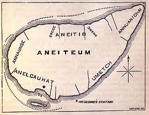 John Geddie (missionary) - Map of Aneiteum, now named Aneityum