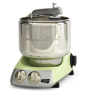Electrolux Ankarsrum Assistent - Current model.  Notice the dark protrusion at the rear right; this is where some accessories (mainly the blender) are attached.