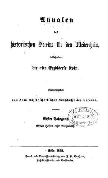 File:Annalen des Historischen Vereins für den Niederrhein 01 (1855).djvu