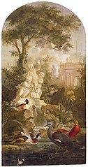 Schoorsteenstuk met voorstelling van tuin met fonteinen, sfinx en verschillende vogels, op achtergrond een verliefd paar