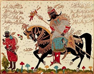 Antarah ibn Shaddad - A painting on glass of Antara ibn Shaddad.