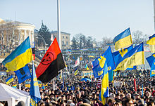 Large demonstration, with Svoboda and other party flags