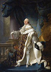 Painting showing French King Louis XVI, standing, wearing formal King's robe