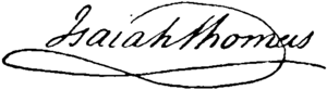 Isaiah Thomas (publisher) - Image: Appletons' Thomas Isaiah signature