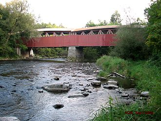 Powerscourt Covered Bridge - View (August 2005) looking upriver, from the West bank (Elgin)