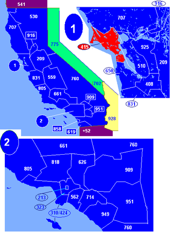Map of California area codes in blue (and border states) with 415 in red