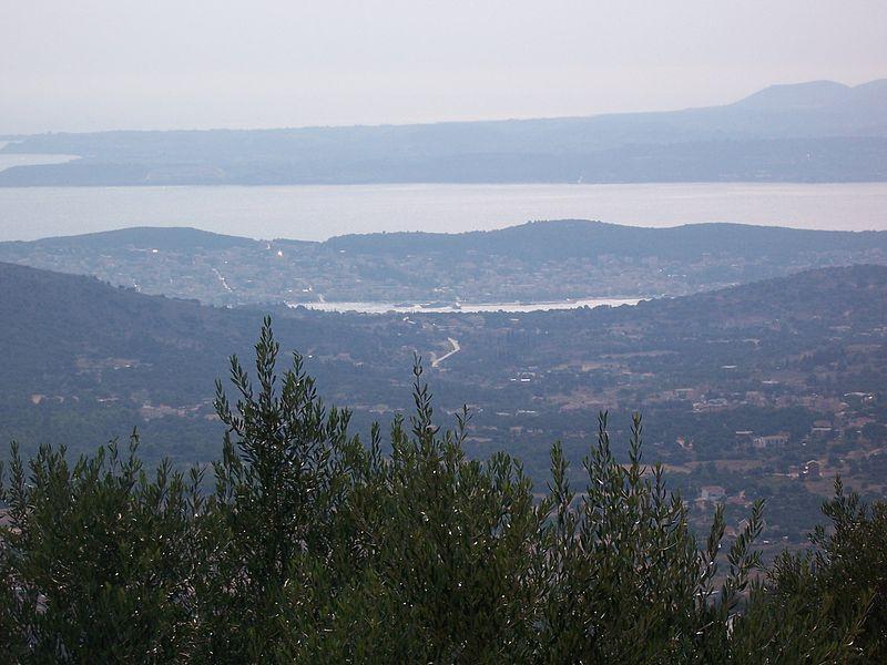 Argostoli and Lixouri from the mountains of Kefalonia.jpg