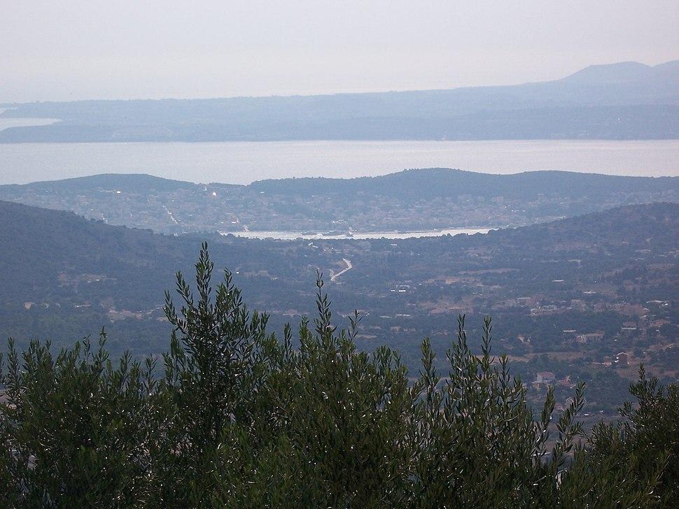 Argostoli and Lixouri from the mountains of Kefalonia