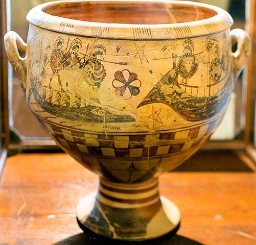 Crátera etrusca como las que se empleaban en los banquetes de la Edad Antigua